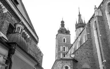 Black and white photo of St Mary's Basilica in Krakow, Poland