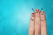 Joyful fingers smiling with colorful background concept - 243039775