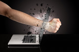 Strong male hand breaks laptop screen glasses