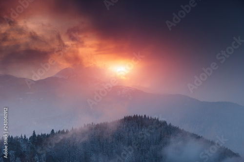Dramatic winter landscape in mountains at sunset. Fantastic wintry scene.View of colorful sky glowing by sunlight. National Park Carpathian. Ukraine. Europe. - 243040912