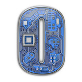 Number 0 zero, Alphabet in circuit board style. Digital hi-tech letter isolated on white. - 243047792