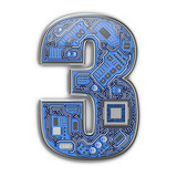 Number 3 three, Alphabet in circuit board style. Digital hi-tech letter isolated on white. - 243047907