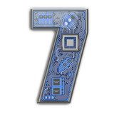 Number 7 seven, Alphabet in circuit board style. Digital hi-tech letter isolated on white. - 243048169