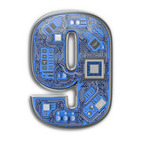 Number 9 nine Alphabet in circuit board style. Digital hi-tech letter isolated on white. - 243048358