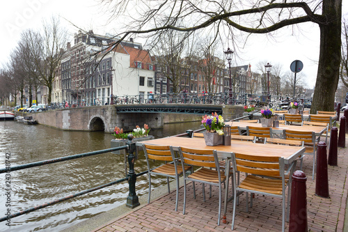 cafe on the street of the amsterdam