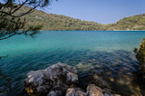 the big lake in the morning, seascape at mljiet island national park. big lake coast. croatia, dalmatia.