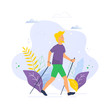 Nordic walking vector illustration