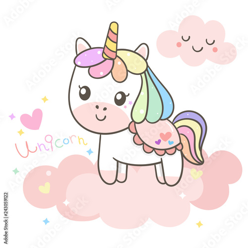 Illustrator of Unicorn cartoon with little star and mini heart (Vector) Valentine day with heart (happy unicorn expressions): series Illustration of cute fairytale pony- card and Print for t-shirt.