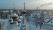 Air Camera panorama down along the church in winter