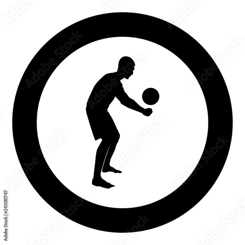 Volleyball player hits the ball with bottom silhouette side view Attack ball icon black color illustration in circle round