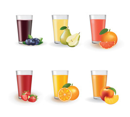Set of juices in a glass, vector © marijaobradovic