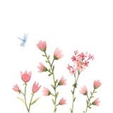 Watercolor floral vector composition - 243085987