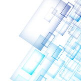 Abstract technology diagonally overlapped geometric squares shape blue colour on white background