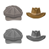 Isolated object of headgear and cap icon. Set of headgear and accessory stock vector illustration. - 243090188