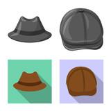 Vector illustration of headgear and cap logo. Set of headgear and accessory stock vector illustration. - 243090579