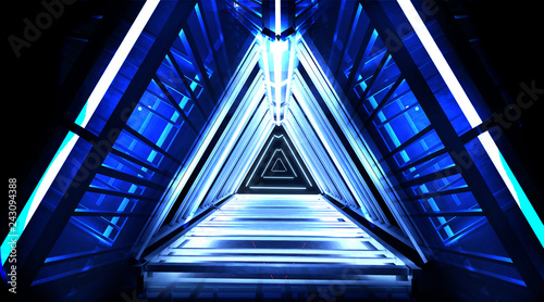 Neon pyramid, light triangle, in empty dark outer space with neon light, two, smog, searchlight rays. Blue abstract background with metal construction illuminated by a LED lamp. 3D Rendering
