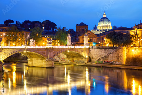 View of Vatican City in Rome at dusk, Italy