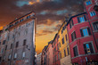 Quadro colored houses in the historic center of Rome.