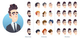 Business character avatar kit, different hairstyles, facial expression and beard. Collection of male facial emotions. - 243111534