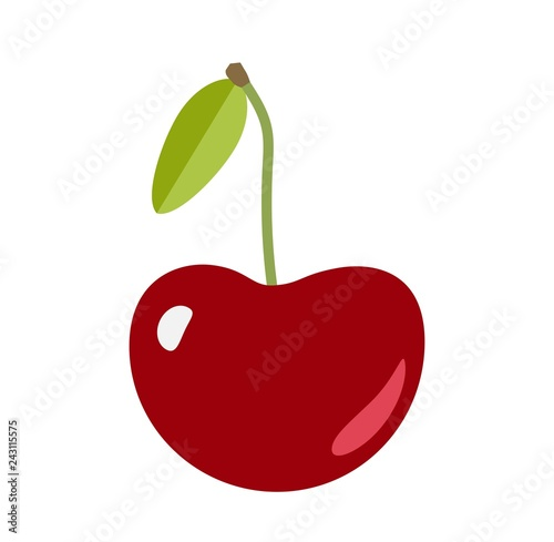 Sweet cherry fruit with a leaf and a stem isolate on white