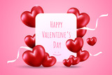 Happy Valentine's day on white card with Many red heart shape balloon and white ribbons on pink gradient background. Creative design in EPS10 vector illustration. - 243117775