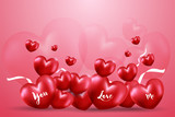 Happy Valentine's day  with Many red heart shape balloon with white ribbons and bubble heart on pink gradient background. Creative design in EPS10 vector illustration. - 243117786