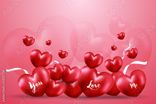 Happy Valentine's day  with Many red heart shape balloon with white ribbons and bubble heart on pink gradient background. Creative design in EPS10 vector illustration.