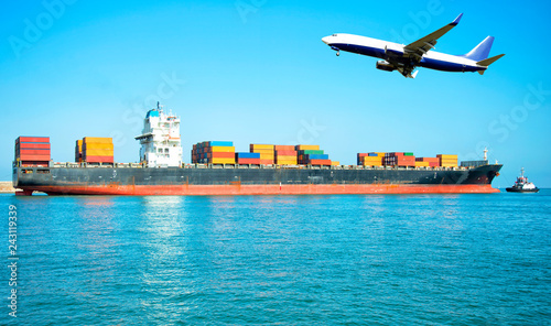 Logistic and transportation: container cargo ship and cargo airplane