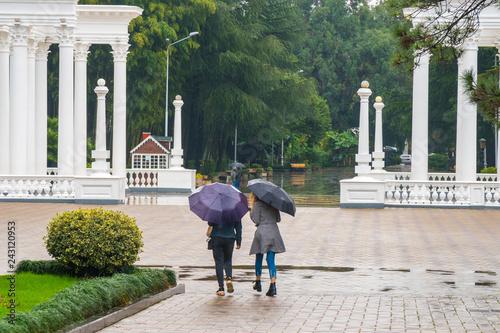 The beautiful colonnade in the seaside Park in the center of Batumi, Georgia