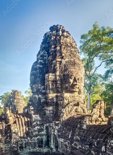 Leinwanddruck Bild Buddha faces in Bayon temple in Angkor Thom. Siem Reap. Cambodia