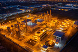 Aerial view. industrial power plant energy at night and twilight - 243131785