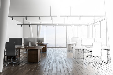Hand drawn office interior