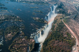 victoria falls from helicopter aerial view