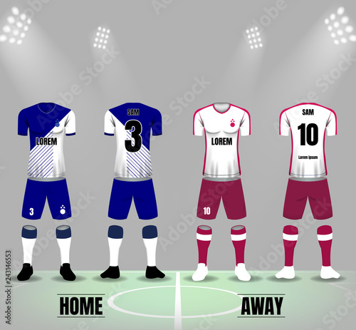 White and blue soccer jersey for home team and white and brown jersey for away team on soccer field