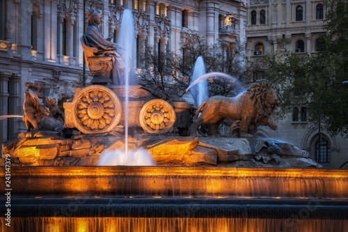 Cibeles Fountain at Night in Madrid