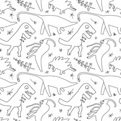 Hand drawn dinosaurs and relict plants. Funny doodle cartoon dino seamless pattern