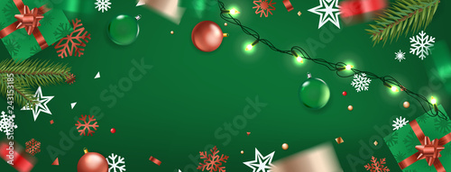 Happy New Year banner. Christmas background. Xmas elements on a table.