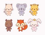 Fototapeta Koty - group of cute animals © djvstock