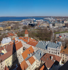 Tallinn, Estonia. View of the old town and port. Square Panorama of two pictures.