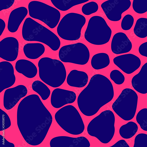 Poster Animal print Vector illustration Seamless pattern with a leopard skin print on a pink background