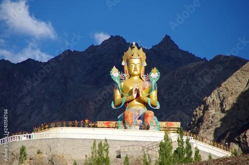 Statue of Buddha in Diskit in Ladakh, India