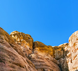 Rocks in mountains of Petra on sunny day