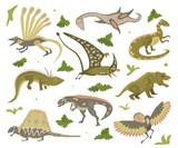 Fototapeta Dinusie - Set Of Cartoon Dinosaurs © tatianastulbo