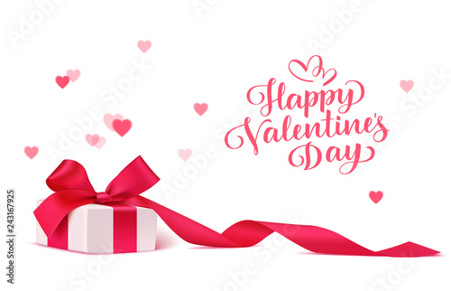 Happy Valentine's Day design template. Decorative gift box with red bow and long ribbon isolated on white background with blur hearts. Vector illustration. Holiday decoration