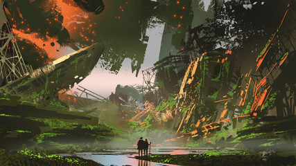 scenery of hikers trekking a river path in overgrown city, digital art style, illustration painting © grandfailure