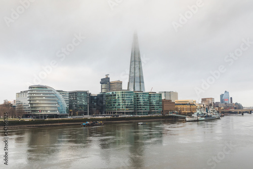 London, view of the city with skyscrapers and fog
