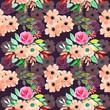 Seamless watercolor flower pale orange pattern - 243168500