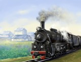 The old steam locomotive is driving. Digital paintings landscape. Fine art.