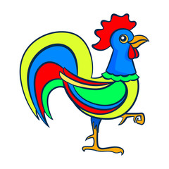 Rooster. Figure stylized cartoon style. Isolated background. Vector © elfhame