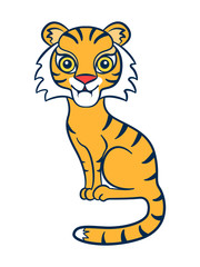 Tiger. Figure stylized cartoon style. Isolated background. Vector © elfhame